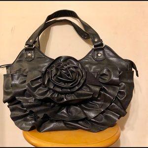 Bueno Brand Black Faux Leather Flower Purse 🌸